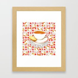 Cup of Tea, a Biscuit and Red Gingham Framed Art Print