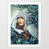 swan Art Prints featuring Swan by Bea González