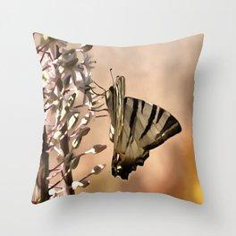Scarce Swallowtail Feeding Throw Pillow