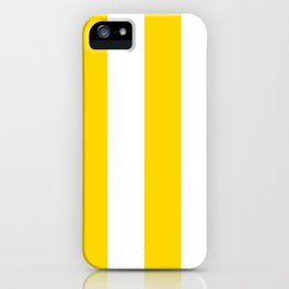 Wide Vertical Stripes - White and Gold Yellow iPhone Case