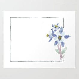 colorado // watercolor columbine state flower map Art Print