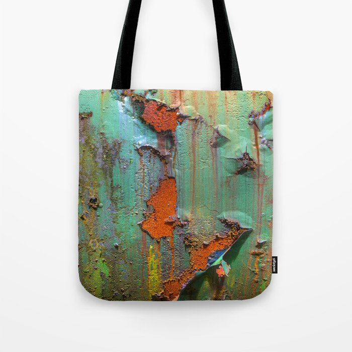 Flaking Paint on Rust Tote Bag
