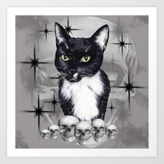 Witches Cat Art Print