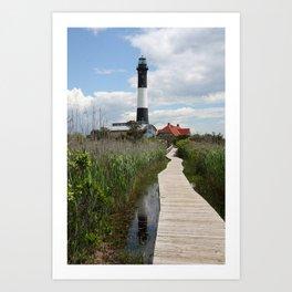 Fire Island Light With Reflection - Long Island Art Print