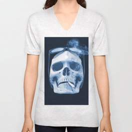 Skull Smoking Cigarette Blue Unisex V-Neck