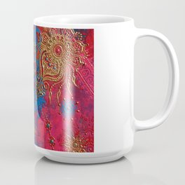 Multi-Media Henna Mehndi Print Red Pink Turquoise Coffee Mug
