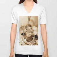 paris V-neck T-shirts featuring Paris by Rose Etiennette