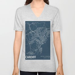Cardiff Blueprint Street Map, Cardiff Colour Map Prints Unisex V-Neck