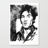 springsteen Canvas Prints featuring Springsteen in black and white by kenmeyerjr