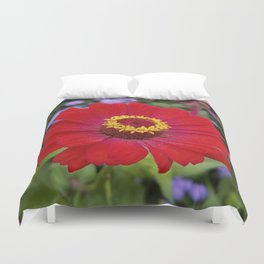 Red zinnia - blazing ring of fire Duvet Cover