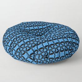 Dividers 02 in Blue over Black Floor Pillow