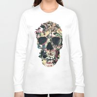 instagram Long Sleeve T-shirts featuring Vintage Skull by Ali GULEC
