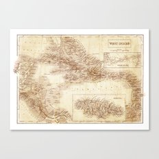 Map of West Indies 1854 Canvas Print