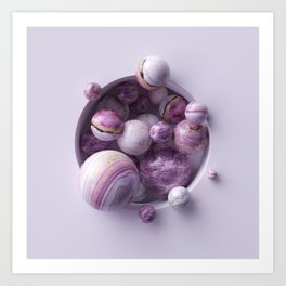 3d abstract background, assorted pink marble balls inside round white niche Art Print