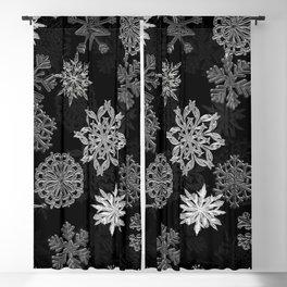 Snowflake Pattern (Black) Blackout Curtain