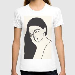 Drawing female face portrait I T-shirt
