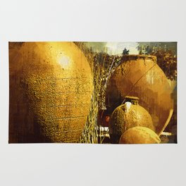 Golden Large Fountain Urns Rug