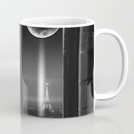 Paris in the Moonlight, Eiffel Tower, Sacré-Cœur Basilica, & Champs-Elyse black and white photograph Coffee Mug