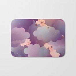 Heavenly Baby Sheep II - Wine Purple / Plum Color, Star Night Sky Background Bath Mat