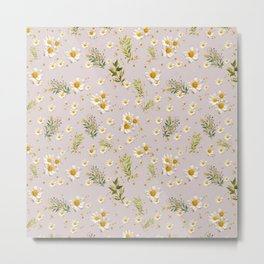 White Daisies Field Pattern Flowers Metal Print