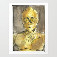 c3po Art Prints featuring C3PO by Johannes Vick