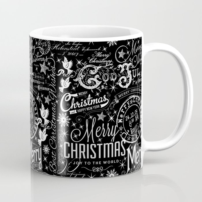 black and white christmas typography design coffee mug by