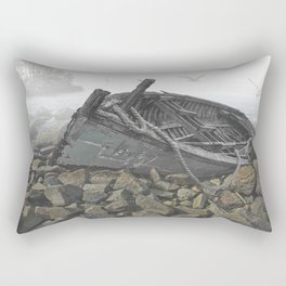 Boat Beached on a Rocky Shore in the Mist Rectangular Pillow