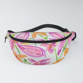 Bright Whimsical Flowers Orange Pink Lilies Green Floral Drawing Watercolor and Marker Fanny Pack