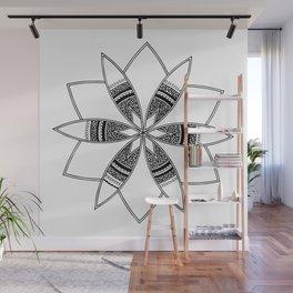 Simple black mandala on white Wall Mural