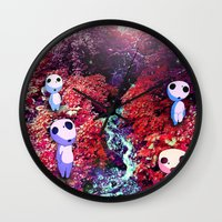 kodama Wall Clocks featuring Kodama by the Stream by pkarnold + The Cult Print Shop