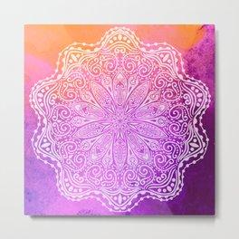 mandala on pink texture Metal Print