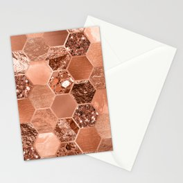 Rose gold hexaglam blonde Stationery Cards
