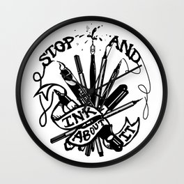 Stop And Ink About It Wall Clock