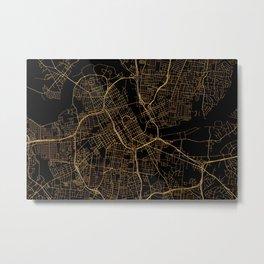 Black and gold Nashville map Metal Print