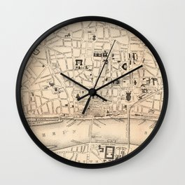 Vintage Cologne Germany Map (1847) Wall Clock