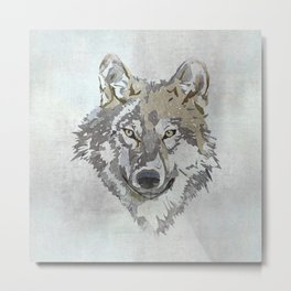Wolf Head Illustration Metal Print