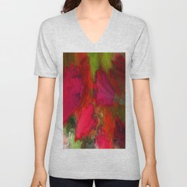 Flower Mirage in Red Unisex V-Neck