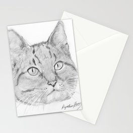 Cat Face Realistic Pencil Sketch Drawing Stationery Cards
