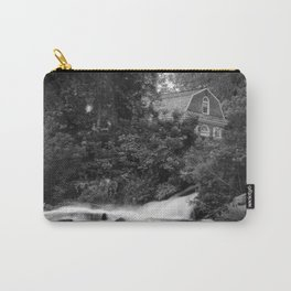 River and Church Black & White Landscape Rural Photograph Carry-All Pouch
