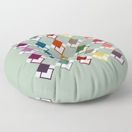 colourful square collage Floor Pillow