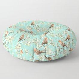 Vintage Redbreast Robin Pattern Floor Pillow