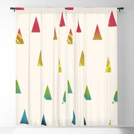 Geometrical pink yellow teal blue watercolor ombre triangles Blackout Curtain