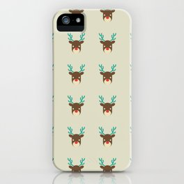 Cute deer pattern Christmas decorations retro colors beige background iPhone Case