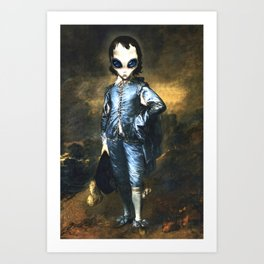 Blue Alien Painting Art Print