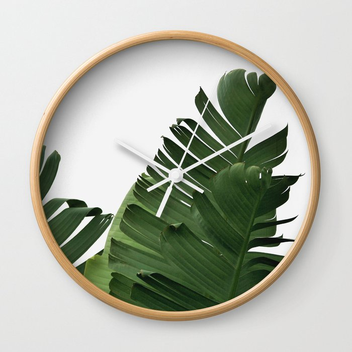 Minimal Banana Leaves Wall Clock