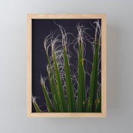 Palm Fronds Against Grey Background Framed Mini Art Print