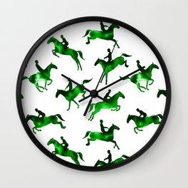 Watercolor Showjumping Horses (Green) Wall Clock