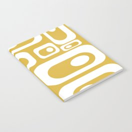 Atomic Age Pod Pattern in White and Mustard Yellow - Minimalist Midcentury Design Notebook