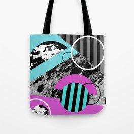 Bits N Pieces III - Abstract, geomtric, random, textured, stripes, black, pink, cyan, artwork Tote Bag