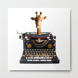 Giraffe Author Journalist typewriter Collage Animals Metal Print